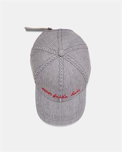 STRIPED CAP WITH SLOGAN