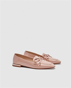 FAUX PATENT LEATHER MULE LOAFERS