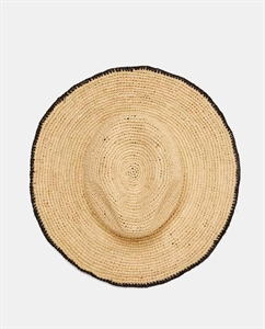 RAFFIA HAT WITH CONTRASTING TRIM