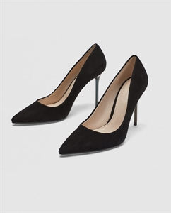 LEATHER HIGH-HEEL COURT SHOES WITH CHROME HEELS