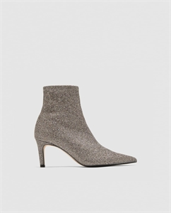 SHIMMERY HIGH HEEL ANKLE BOOTS
