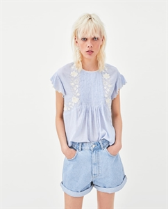 TOP WITH EMBROIDERED BIB FRONT