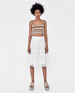 COMBINED SKIRT WITH CUTWORK EMBROIDERY