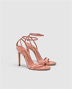 LAMINATED HIGH-HEEL STRAPPY SANDALS