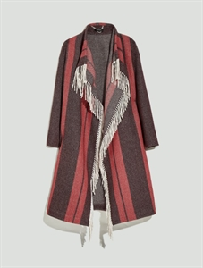 Double blend wool coat with fringe