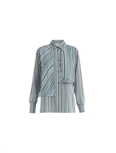Layered Stripe Silk Blouse