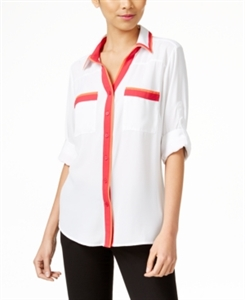 Ny Collection Colorblocked Utility Blouse