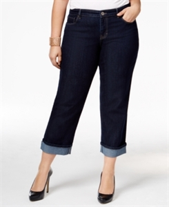 Style & Co. Plus Size Tummy-Control Curvy-Fit Cuffed Capri Jeans, Only at Macy's