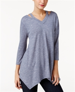 Style & Co. Cutout Handkerchief-Hem Tunic, Only at Macy's
