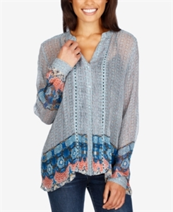 Lucky Brand High-Low Border Top
