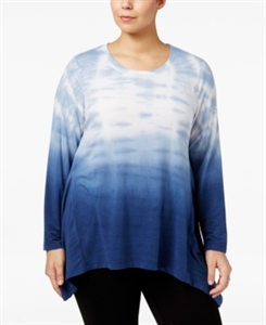 Style & Co. Plus Size Tie-Dyed Ombre Top, Only at Macy's