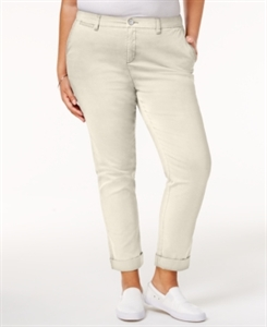 Style & Co. Plus Size Embroidered Cropped Chino Pants, Only at Macy's