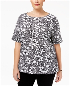 Karen Scott Plus Size Floral-Print Cuffed T-Shirt, Only at Macy's