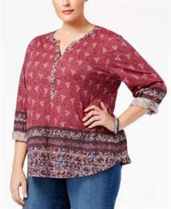 Style & Co. Plus Size Printed Peasant Top, Only at Macy's