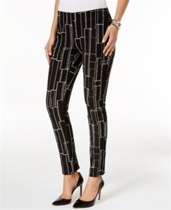 Alfani Petite Printed Pull-On Slim Pants, Only at Macy's