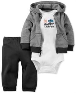 Carter's Baby Boys' 3-Pc. Little Wild One Hoodie, Bodysuit & Pants Set