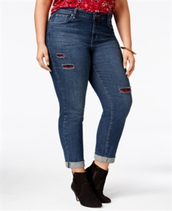 Style & Co. Plus Size Patchwork Path Wash Boyfriend Jeans, Only at Macy's