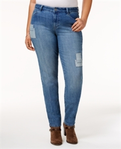 Style & Co. Plus Size Patched Camino Wash Skinny Jeans, Only at Macy's
