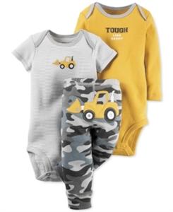 Carter's Baby Boys' 3-Pc. Construction Bodysuits & Pants Set