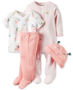 Carter's Baby Girls' Little Blooms 4-Pc. Hat, T-Shirt, Footed Pants & Footed Coverall Set