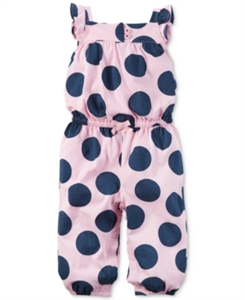 Carter's Flutter-Sleeve Dot-Print Jumpsuit, Baby Girls (0-24 months)