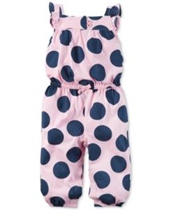 Carter's Flutter-Sleeve Dot-Print Jumpsuit, Baby Girls (0-24 months)