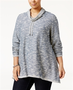 Style & Co. Plus Size Funnel-Neck Space-Dyed Top, Only at Macy's