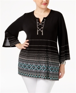 Jm Collection Plus Size Lace-Up Border-Print Top, Only at Macy's