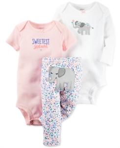 Carter's Baby Girls' 3-Pc. Elephant Bodysuits & Pants Set