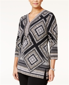 Jm Collection Plus Size Embellished Printed Tunic, Only at Macy's
