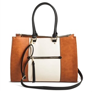 Women's Color Block Tote Faux Leather Handbag with Zip Front Pocket Cognac - Merona, Size: Large, Ivory