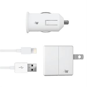 Lightning Usb Charging Cord - Just Wireless Car and Outlet Combo - White