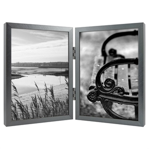 """Holds Two 5""""x7"""" Hinged Thin Gunmetal (Grey) Frame - Room Essentials"""