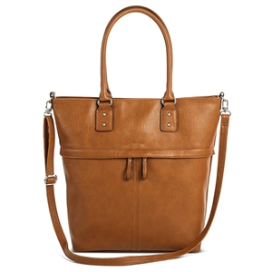 Women's Tote Faux Leather Handbag with Removable Crossbody Strap Butternut Wood - Merona, Size: Large
