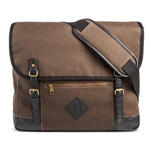 Men's Canvas Messenger Bag Brown - Merona