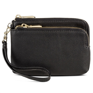 Women's Zip Wristlet Faux Leather Pouch Black - Merona