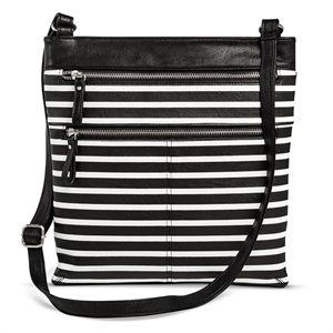 Women's Striped Crossbody Faux Leather Handbag with Zippers Black/White - Merona