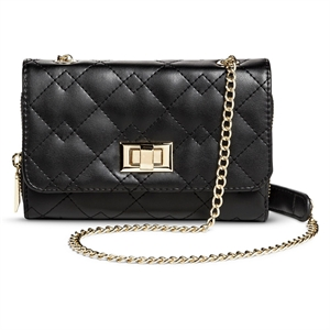 Women's Quilted Crossbody Faux Leather Handbag Turnlock Clasp Black - Mossimo