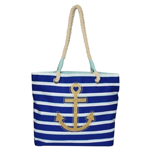 Girls' Multi-Stripe Glitter Anchor Tote Bag Cat & Jack - Blue One Size, Girl's