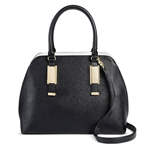 Women's Faux Leather Dome Handbag Black - Mossimo Black