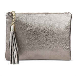 Women's Faux Leather Clutch Handbag with Zip Closure Pewter (Silver) - Merona