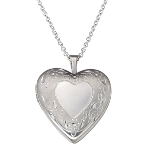 Silver Plated Pendant Necklace with Engraved Heart Locket, Women's
