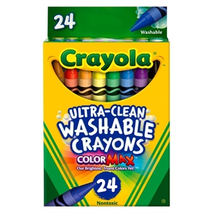 Crayola Ultra-Clean Crayons, Large, Washable, 24ct - Multicolor, Multi-Colored