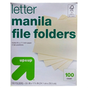 Essentials File Folders - 1/3 Cut Top Tab, Letter, Manila, 100/Box - up & up, None
