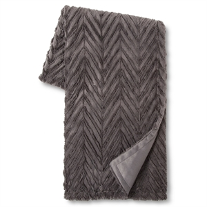 """Charcoal Chevron Faux Fur Throw (50""""x60"""") - Xhilaration, Grey"""