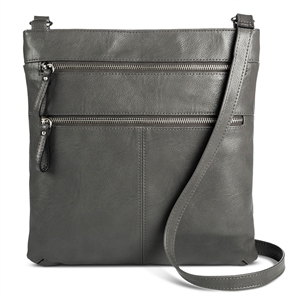 Women's Crossbody Faux Leather Handbag with Double Zipper Detail Grey - Merona, Size: Small