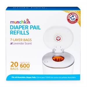 Munchkin Arm & Hammer Diaper Pail Snap, Seal and Toss Refill Bags, 600 Count, 20 Pack