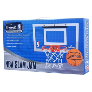 Spalding NBA Slam Jam Over-The-Door Team Edition Basketball Hoop, White/Clear