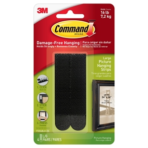 3M Command Damage-Free Hanging Large Black Picture Hanging Strips 4-ct.
