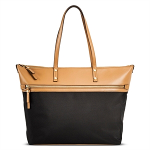 Women's Color Block Nylon Work Tote with Faux Leather Trim Black - Merona, Size: Large, Camel